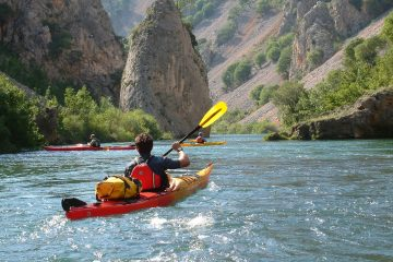 kayaker on the river in Croatia
