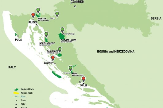 Croatia National Parks Holiday map