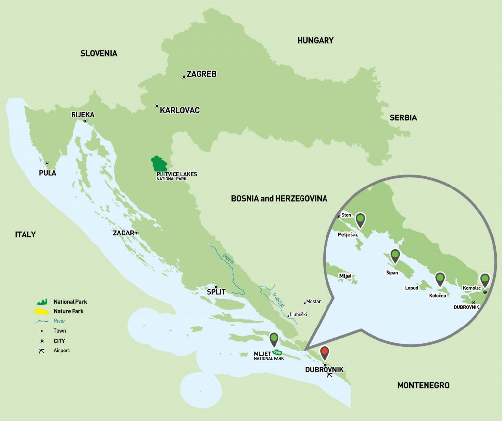 Dubrovnik Sailing Holiday Map
